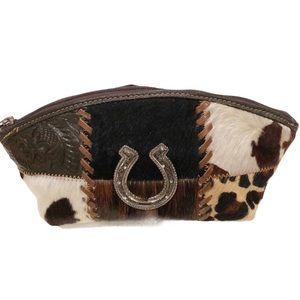 American West Cowtown leather cosmetic bag